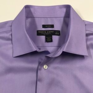 PRONTO UOMO Purple Oxford Dress Shirt 17 1/2 XL